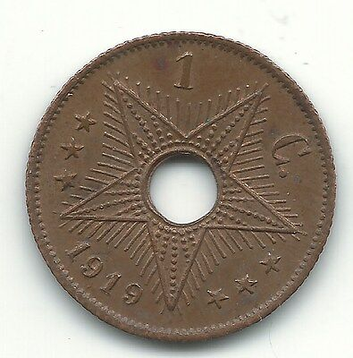 High Grade Xf/au 1919 Belgium Congo One Cent Coin-Leopold Ii-Jul028