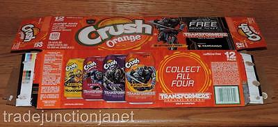 "2017 Usa Orange Crush ""transformers-The Last Knight"" Empty 12-Pack Can Carton"