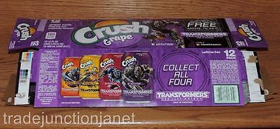 "2017 Usa Crush Grape ""transformers-The Last Knight"" Empty 12-Pack Can Carton"