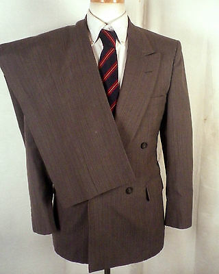 vtg Cellini euc Gray Fine Striped Double Breasted Wool 2 Pc Business Suit 36 S