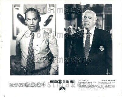 1995 Wire Photo Actors O J Simpson George Kennedy Star Movie Naked Gun 33 & 3rd