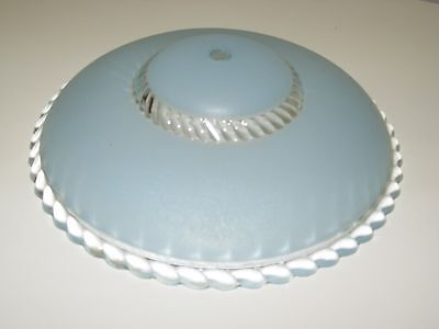 Antique Art Deco Frosted Blue Clear Glass Ceiling Light Lamp Shade Single Mount