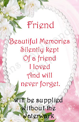 Friend  Bereavement Graveside Memorial Keepsake Card no F14