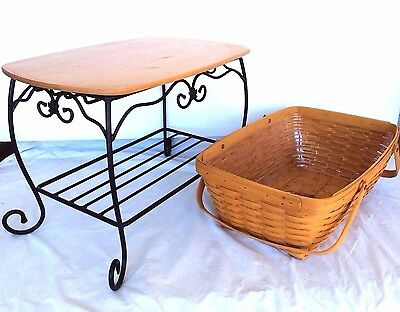 Wrought Iron Stand & Shelf with Treasure Basket & Protector Longaberger