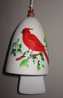Signed Ceramic Pottery Bell Hp Red Cardinal On Green & White Flowering Branch