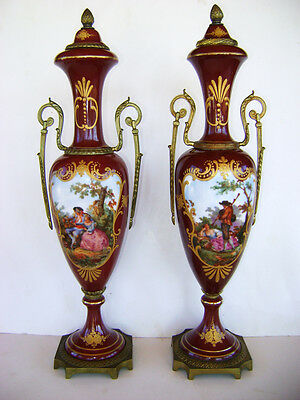 """2 Antique French Hand Painted Sevres Style Red Vases 16 3/4"""" Tall JHB 1960s"""