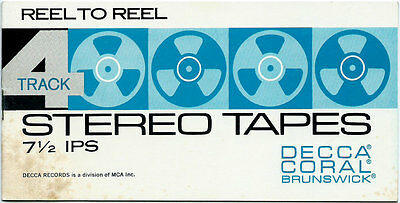 Reel To Reel 4 Track Tape Catalog For - Decca - Coral & Brunswick