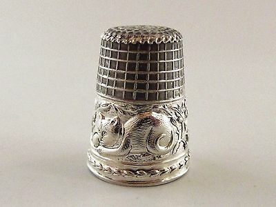 A Silver Thimble With A Cat Embossed To Boarder Ref 823/1