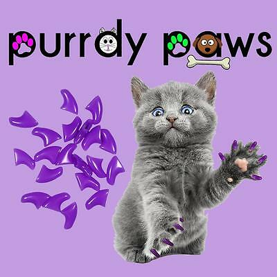 Soft Nail Caps For Cat Claws ( PURPLE ) * Purrdy Paws Brand *4 Sizes