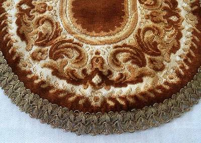 Vintage Golden Brown Velvet Tapestry Table Runner Metallic Lace Trim