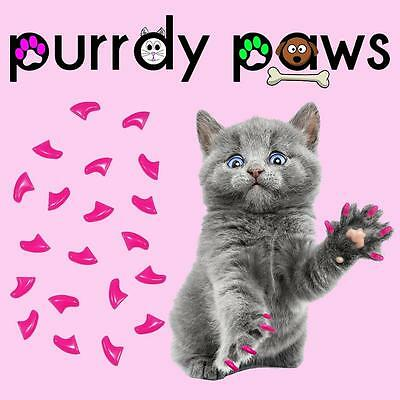 Soft Nail Caps For Cat Claws ( LIPSTICK PINK ) * Purrdy Paws Brand *4 Sizes