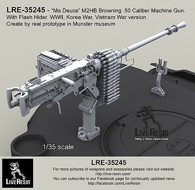 Live Resin 1/35 WWII M2HB Browning .50 Calibre Machine Gun with Flash Hider