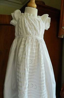 Antique Victorian baby doll's long Christening dress - layers whitework lace