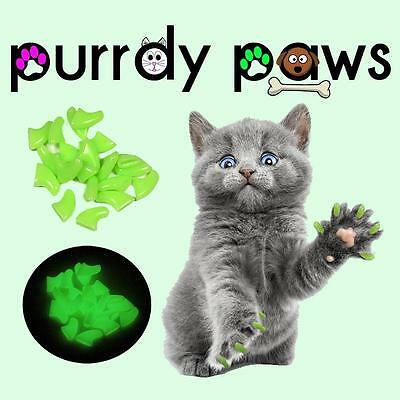 Soft Nail Caps For Cat Claws ( ULTRA GLOW IN THE DARK ) * Purrdy Paws * 4 Sizes