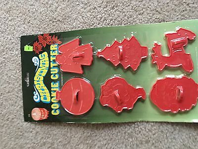 Vintage New Old Stock Plastic Red Holiday Cookie Cutters