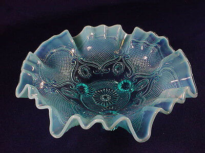 Northwood Lattice Medallions Blue Opalescent Bowl 8-3/4