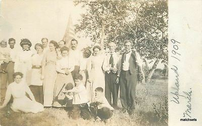 1909 Upland California Group Photo Flag RPPC real photo postcard 5869