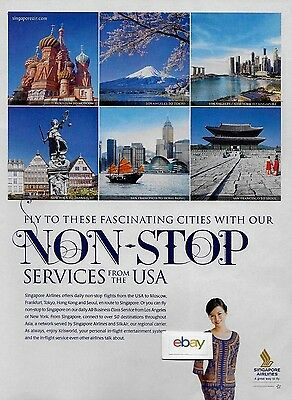 Singapore Airlines 2012 Singapore Girl Nonstop From Usa To Houston To Moscow Ad