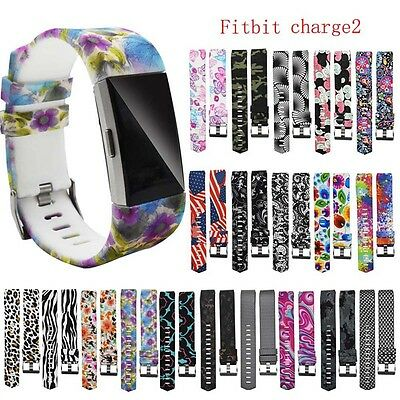 Replacement Silicone Printed Watch Band Sport Strap Bracelet For Fitbit Charge 2
