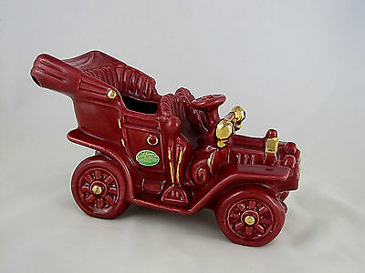 California Art Industries, Culver City, Calif. Vintage Car Planter, Maroon, 10""