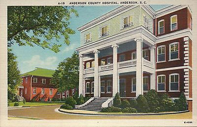 Anderson County Hospital South Carolina SC, Stairs - Old Vintage Linen Postcard