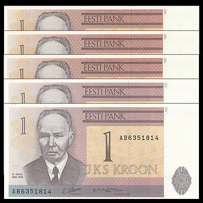 Lot 5 PCS, Estonia 1 Krooni, 1992, P-69, UNC