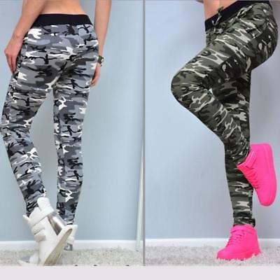 POP Womens High Waist Casual Pants Elastic Military Army Camouflage Trousers LC