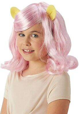Girls Kids Official My Little Pony Fluttershy Fancy Dress Costume Outfit Wig