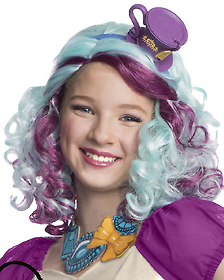 Girls Official Madeline Hatter Ever After High Fancy Dress Costume Outfit Wig