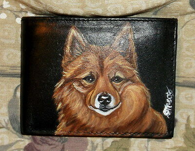 Finnish Spitz Dog Hand Painted Bifold Leather Wallet for Men