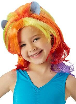 Girls My Little Pony Rainbow Dash Official Bright Fancy Dress Costume Outfit Wig