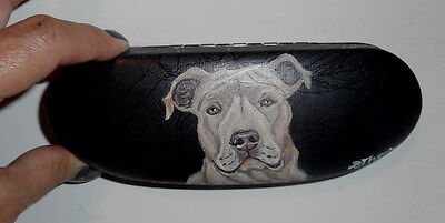 Pit Bull terrier Dog Hand Painted Eyeglass case faux Leather