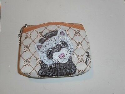 Sable Ferret Hand Painted Leather Coin Purse Vegan Mini Wallet