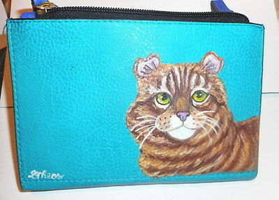 American curl Orange Red Tabby cat Hand Painted Ladies Leather Wallet Pouch