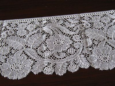 """c1860 GORGEOUS 5""""wide X 34""""long LENGTH FRENCH ARGENTAN LACE~WELL EXECUTED~ExCond"""