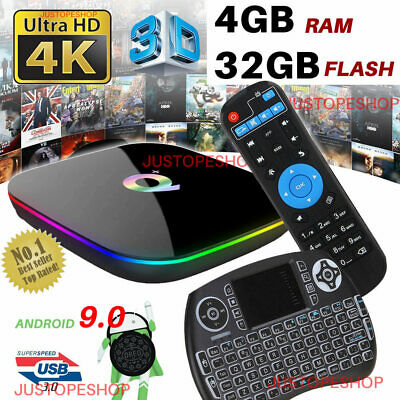 2019 Q-Box Plus 4Gb+32Gb Android 8.1 Tv Hd Media Player Hdmi Wifi+Mini Keyboard