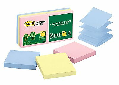 Post-it Greener Pop-up Notes, 3 in x 3 in, Helsinki Collection, 6 Pads/Pack