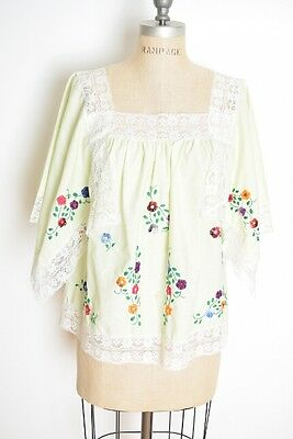 vintage 70s top green Mexican embroidered hippie boho peasant shirt blouse M