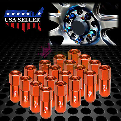 Orange 20 PCS M12X1.5mm Lug Nuts Extended Tuner Aluminum Wheels Rims Cap WN02