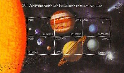 Planets of the Solar System 6v Space Stamp Sheet (1999 Angola/Sun/Earth/Moon)