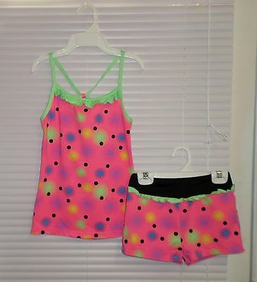 Freestyle DANSKIN Dance Sport Cami Tank and Booty Shorts Size 10-12 Neon Colors