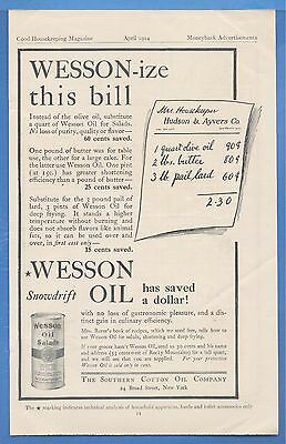 "Wesson-ize this bill, 1914 Wesson Cooking Oil Magazine Print Ad, ""Snowdrift"""