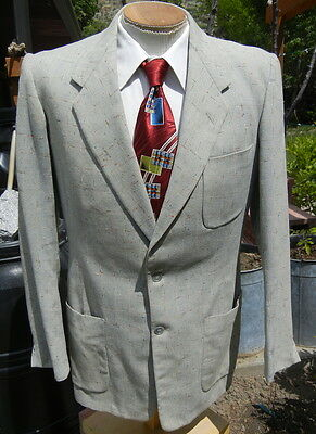 COLORFUL Hollywood FLECK Sport Coat Jacket 42L - CLASSIC 1950s w/ Patch Pockets