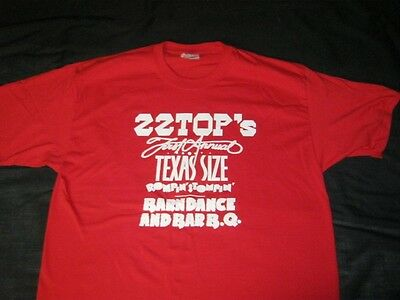 ZZ TOP 1974 Texas-Size Rompin' Stompin' Barndance & Bar-B-Q T Shirt RED