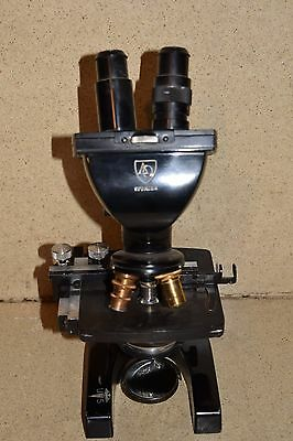 ++ American Optical Ao Spencer 3 Objective Microscope W/ 15X Eyepieces (Pq1)