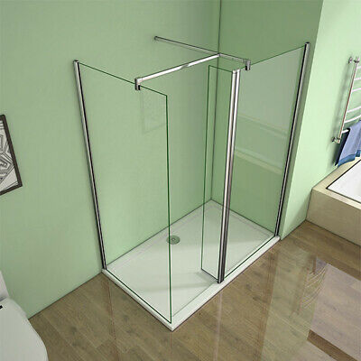 AICA Walk In Wet Room Shower Enclosure Screen Flipper Nano Glass Tray Free Waste