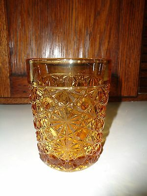 """Awesome Antique """"Daisy & Button"""" Pattern Glass Tumbler-Amber Glass"""