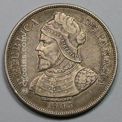 1905 PANAMA Silver 50 Centesimos Large Crown Size Coin (16120509R)