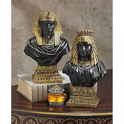 Set of 2: Egyptian Revival King Rameses II Queen Nefertari 18th Dynasty Bust
