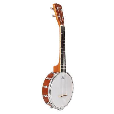 Maple 4-string Banjo w/ Wooden Resonator Music Practicing White 62cm